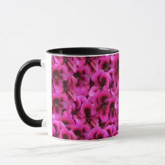 Caneca de café combinado da flor magenta do