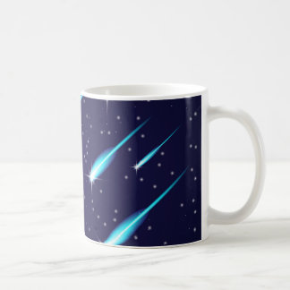 Caneca De Café Cometas no céu azul do espaço estrelado