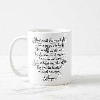 Caneca De Café Como doce o luar, citações de Shakespeare