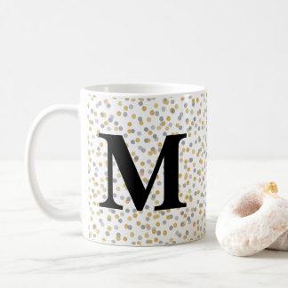 Caneca De Café Confetes do monograma