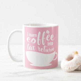 Caneca De Café Contador cor-de-rosa eu transformo o café na