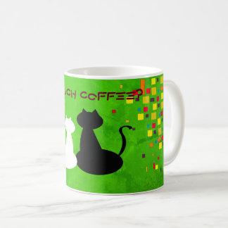 Caneca De Café Contraste colorido do gato dos quadrados vibrantes