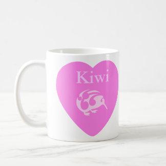 Caneca De Café Copo cor-de-rosa do coração do quivi