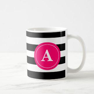 Caneca De Café Copo de café do monograma da listra do rosa preto