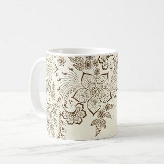 Caneca De Café Copo de café floral do teste padrão