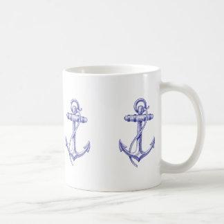 Caneca De Café Copo de café náutico azul e branco com âncoras