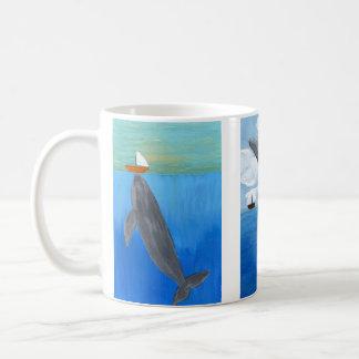 Caneca De Café Copo de café, paisagem acrílica do oceano