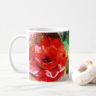Caneca De Café Copo floral vívido do teste padrão