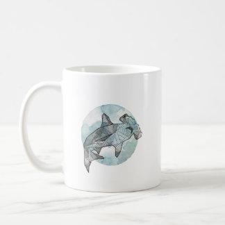 Caneca De Café copo geométrico do tubarão