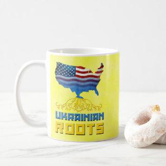 Caneca De Café Copo ucraniano americano das raizes