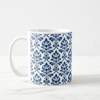 Caneca De Café Cor damasco de Feuille azul escuro no branco