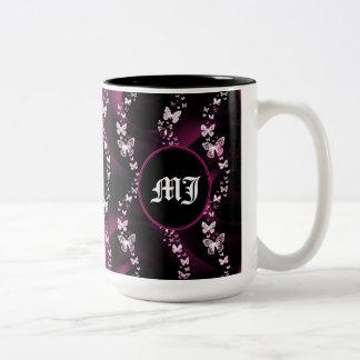 Caneca de café cor-de-rosa de Monogramed da