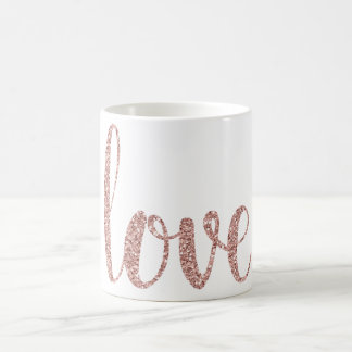 Caneca de café cor-de-rosa do amor do ouro, brilho