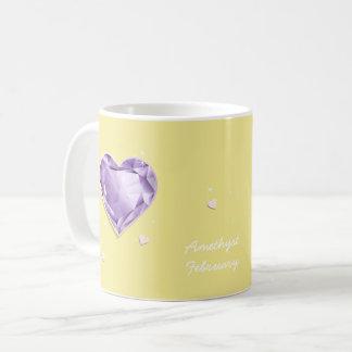 Caneca De Café Coração Amethyst roxo de Birthstones fevereiro