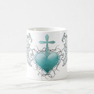 Caneca De Café Coração azul de cristal fiel