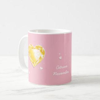 Caneca De Café Coração citrino amarelo dourado de Birthstones