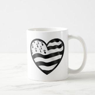 Caneca De Café Coração com bandeira de Bretin para dentro