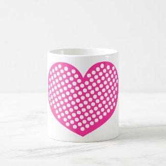 Caneca De Café Coração cor-de-rosa de Polkadot