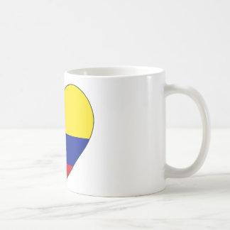 Caneca De Café Coração da bandeira de Colômbia