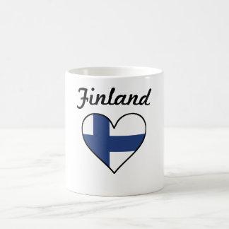 Caneca De Café Coração da bandeira de Finlandia