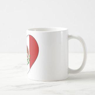 Caneca De Café Coração da bandeira de México
