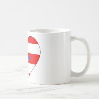 Caneca De Café Coração da bandeira de Puerto Rico