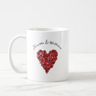 Caneca De Café Coração das rosas vermelhas