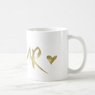 Caneca De Café Coração do caso amoroso do ouro