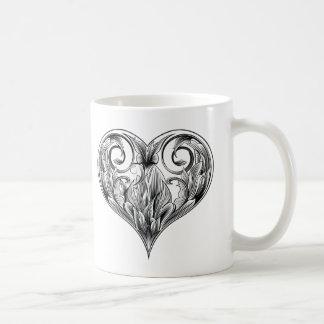 Caneca De Café coração do woodcut