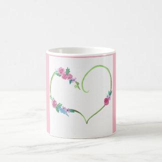 Caneca De Café coração floral