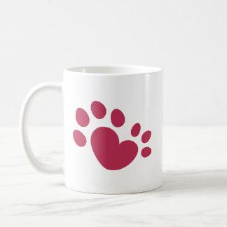 Caneca De Café Coração Polydactyl do impressão da pata do gato
