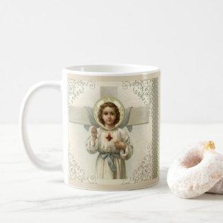 Caneca De Café Coração sagrado da criança Jesus com cruz