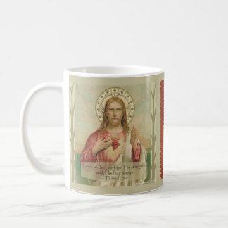 Caneca De Café Coração sagrado de citações da escritura de Jesus