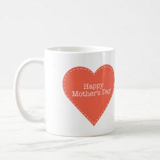 Caneca De Café Coração simples com dia das mães feliz do texto