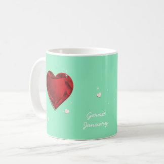 Caneca De Café Coração vermelho da grandada de Birthstones