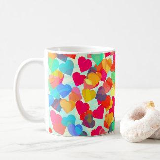 Caneca De Café Corações abstratos para o dia dos namorados