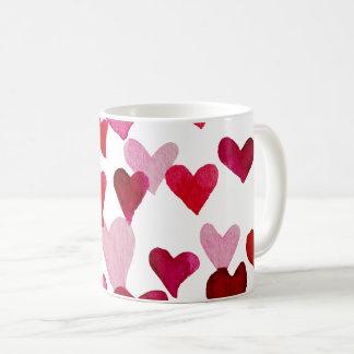 Caneca De Café Corações da aguarela do dia dos namorados - rosa