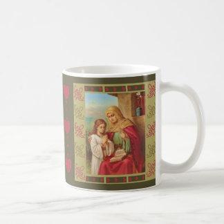 Caneca De Café Corações da avó de Mary da criança do Virgin de St