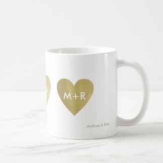 Caneca De Café corações do amor do ouro do falso, um romântico &