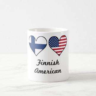 Caneca De Café Corações finlandeses da bandeira americana