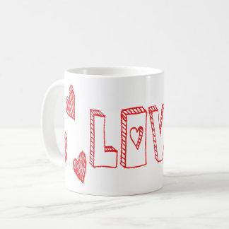 Caneca De Café Corações vermelhos e brancos do amor - casamento