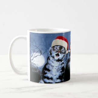 Caneca De Café Coro dos gatos do chapéu do papai noel do Natal de