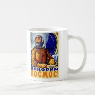 Caneca De Café Cosmonauta retro do soviete do kitsch do vintage