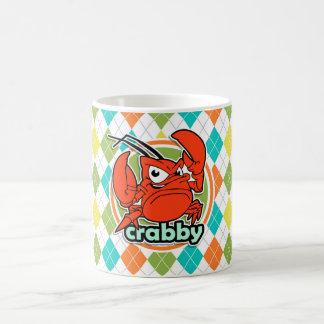 Caneca De Café Crabby; Teste padrão colorido de Argyle