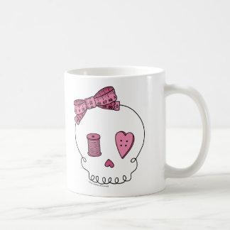 Caneca De Café Crânio Sewing (rosa)