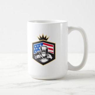 Caneca De Café Crista da bandeira dos EUA da soldadura de arco do
