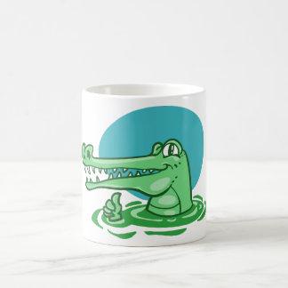 Caneca De Café crocodilo engraçado desenhos animados aprovados