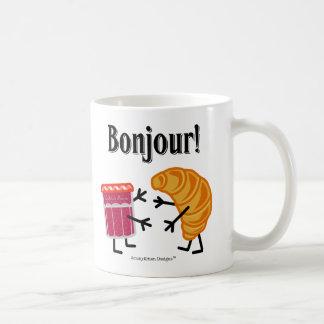 Caneca De Café Croissant e doce - Bonjour!