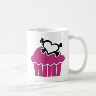 Caneca De Café Crossbones dos cupcakes w/Heart
