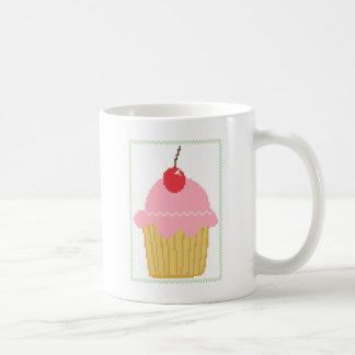 Caneca De Café cupcake cor-de-rosa da cereja